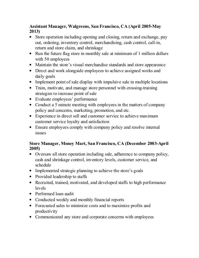 Resume Folder Walgreens Example Of Resume Resume Example Letter