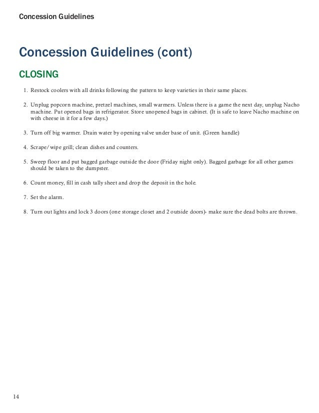 concession stand sign up sheet