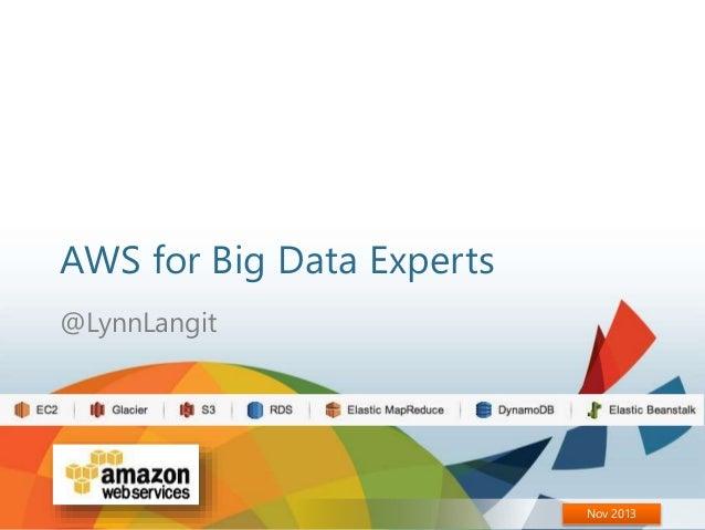 AWS for Big Data Experts @LynnLangit  Nov 2013