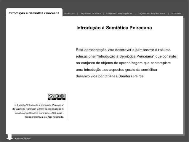 Introdução à Semiótica Peirceana                    Introdução   |   Arquitetura de Peirce    |   Categorias Cenopitagóric...