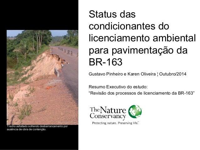 Status das condicionantes do licenciamento ambiental para pavimentação da BR-163 Gustavo Pinheiro e Karen Oliveira ¦ Outub...