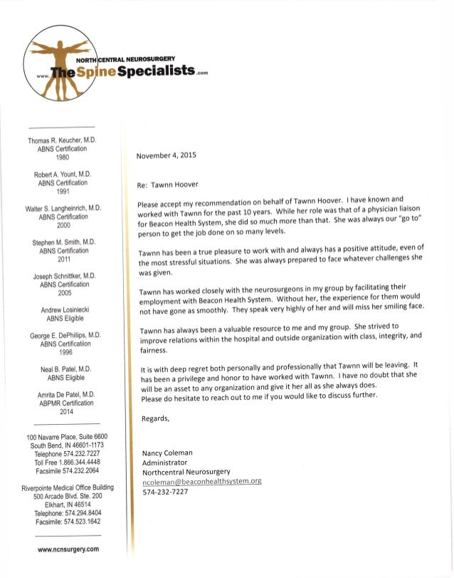 Nancy Coleman Executive Ref Letter