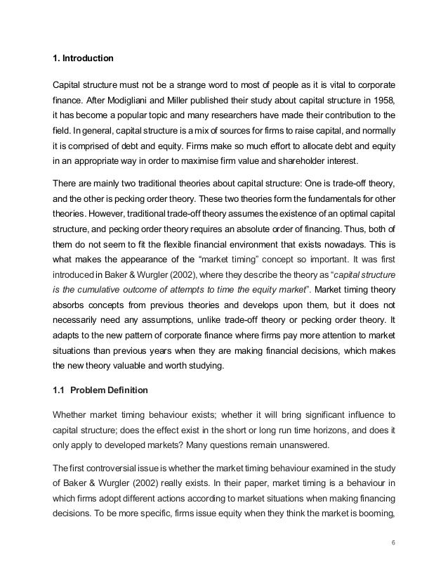 market timing and capital structure for 1 capital structure and market timing:international evidence krishna reddy#1, ngoc h tran# # department of finance, waikato management school, the university of waikato, hamilton, new zealand abstract a well-establishedview is that existsfirms in a developed financial market take advantage of.