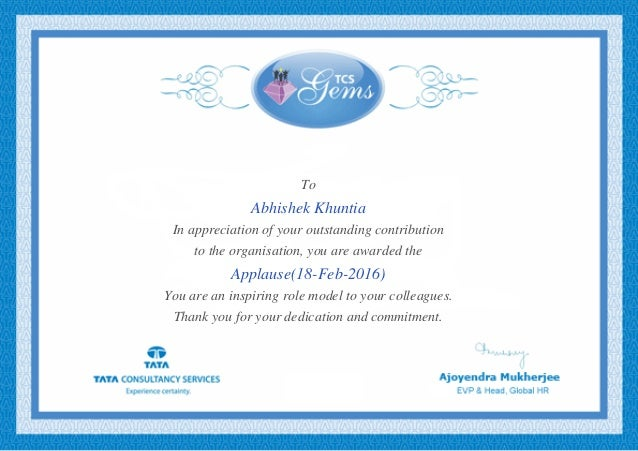 To Abhishek Khuntia In appreciation of your outstanding contribution to the organisation, you are awarded the Applause(18-...