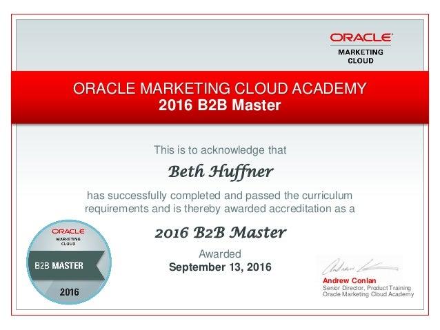 Eloqua Master Certifications