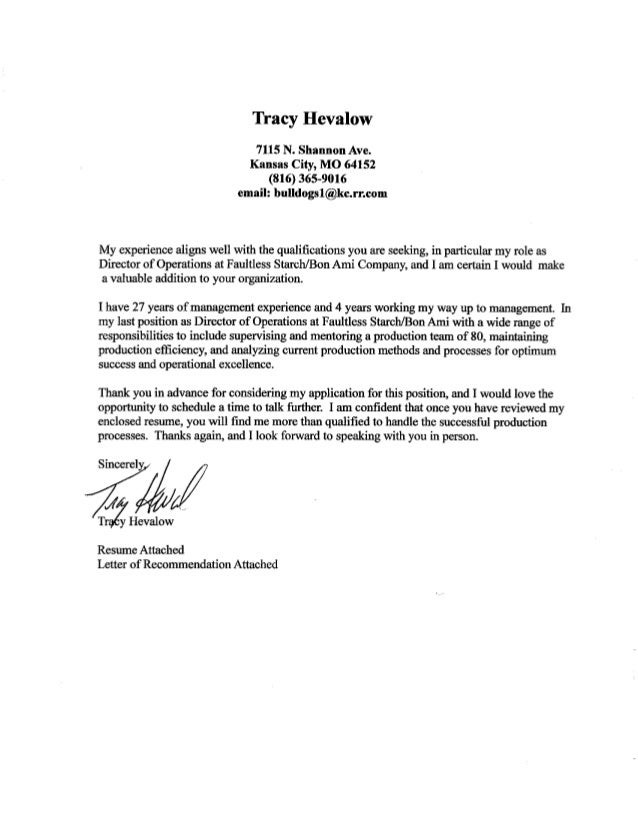 Tracy Cover Letter Resume Letter Of Recommendation
