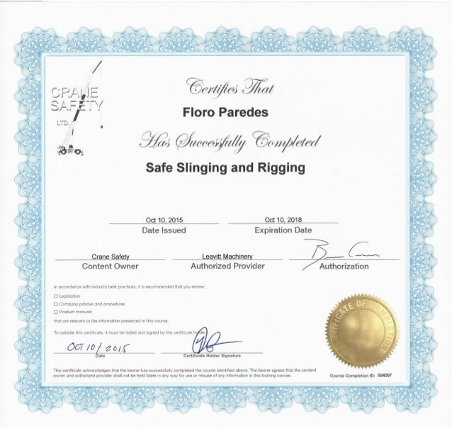 Slinging And Rigging Certificate 237932