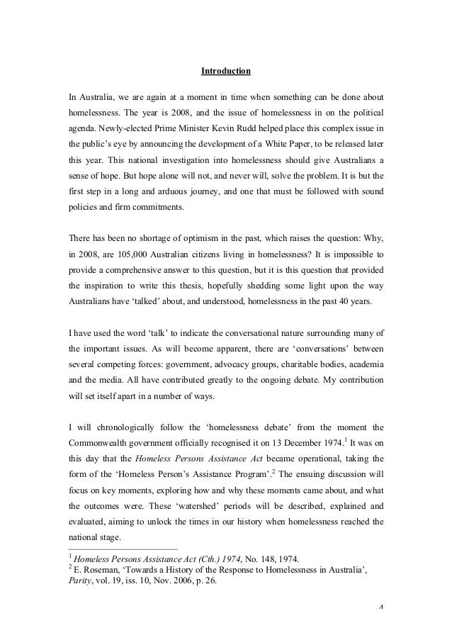 Homelessness essay thesis