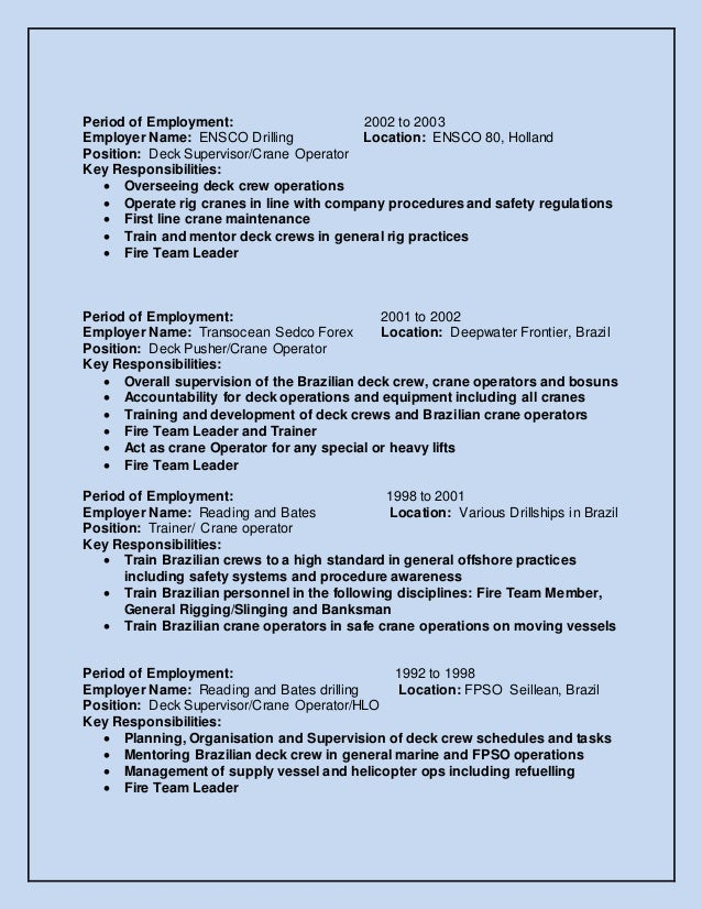 crane operator job description resume