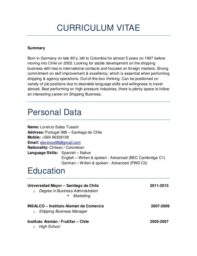 microsoft-word-lorenzo-english-cv-1-638 Summarized Curriculum Vitae on what is, formato de, ejemplos de, resume or, high school,