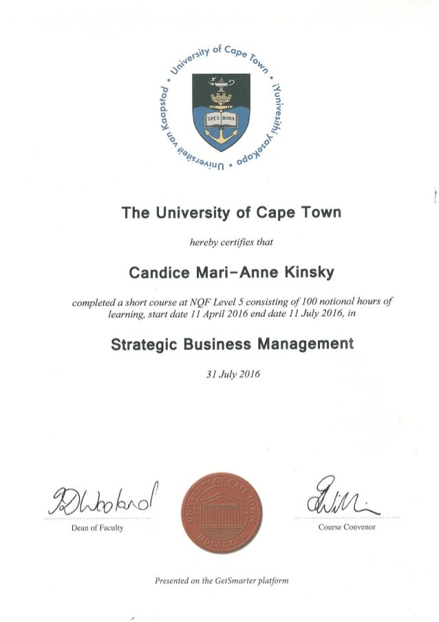 UCT Strategic Business Management Certificate
