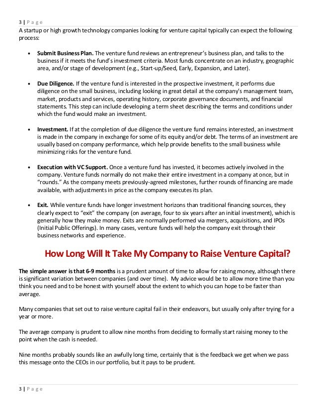 business plan to raise capital template