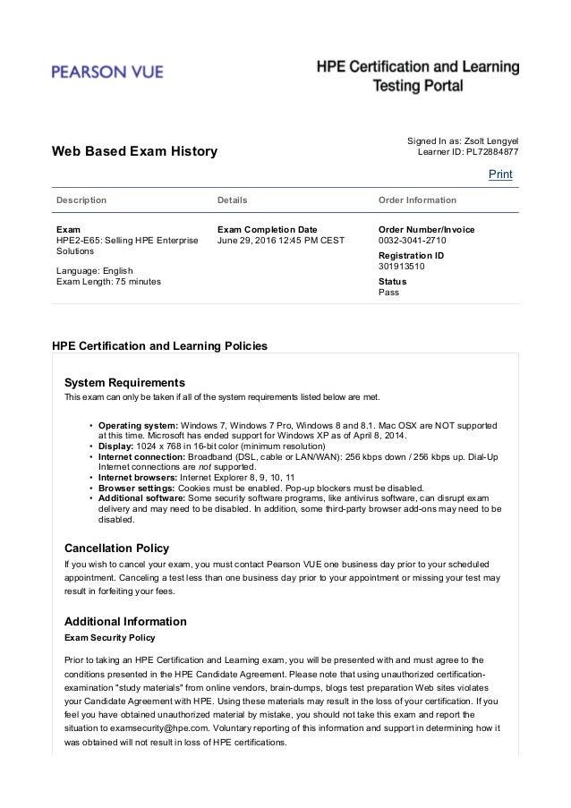 Pearson VUE - Web Based Exam History