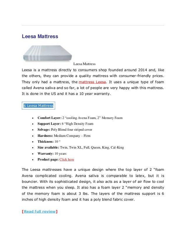 [Read full review]; 6. Leesa Mattress ...
