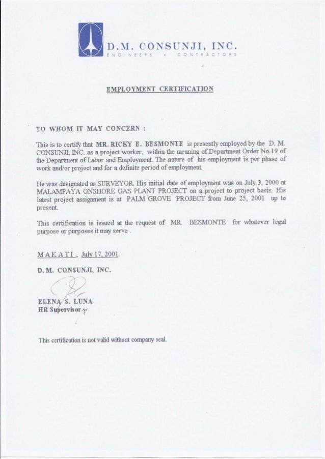 Employment Certification DMCI