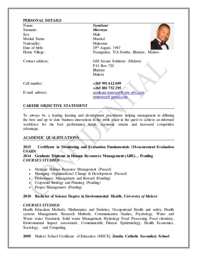 yamikani muronya curriculum vitae 2 - Cv Name