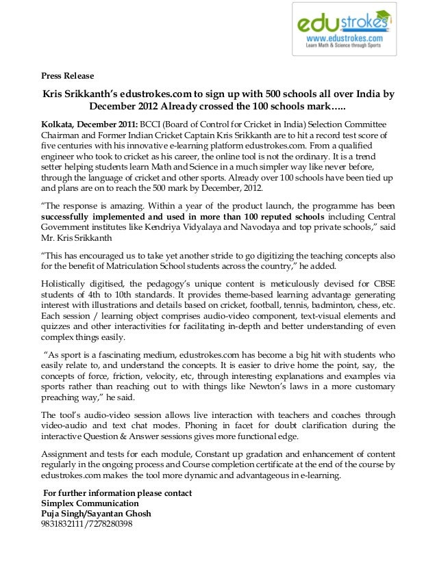 Press release 1 638gcb1443409929 press release kris srikkanths edustrokes to sign up with 500 schools all over india thecheapjerseys Images