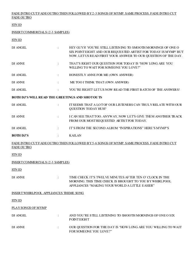 radio script example - Yeni.mescale.co