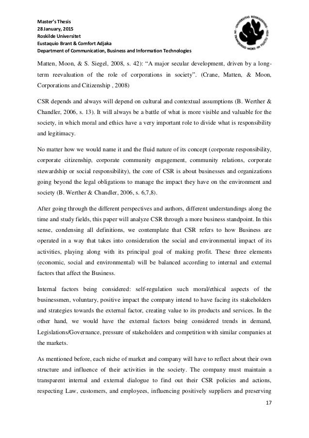 thesis on csr in ghana Using corporate social responsibility (csr) to build brands: a case study of vodafone ghana ltd george kofi amoako thesis submitted in fulfilment of the requirements.