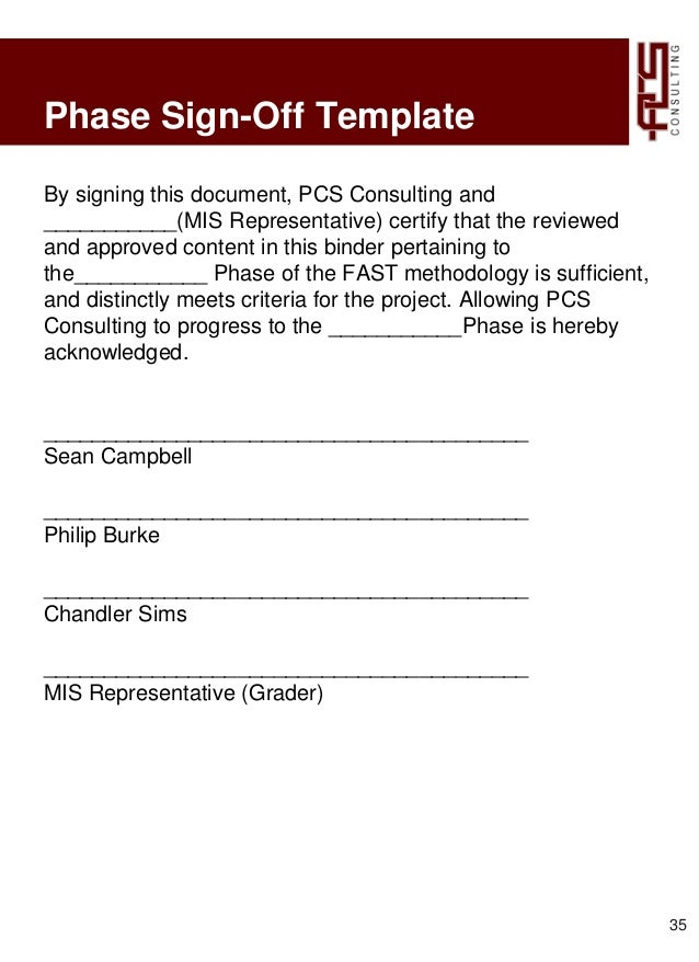 sign off template for testing - 295 project 3 pcs consulting
