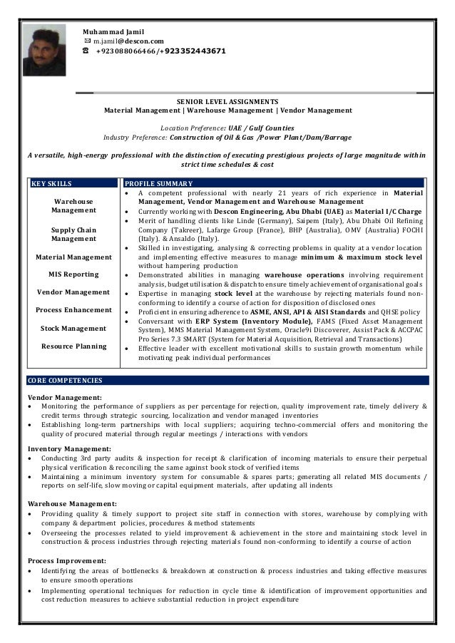 cv for warehouse supervisor  m  jamil