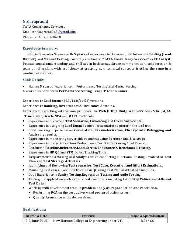 Performance Tester Resume - Free Resume Sample •