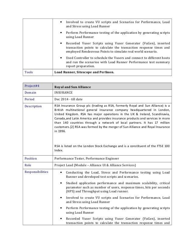 Loadrunner Resume. Shivaprasad Resume Performance Testing .