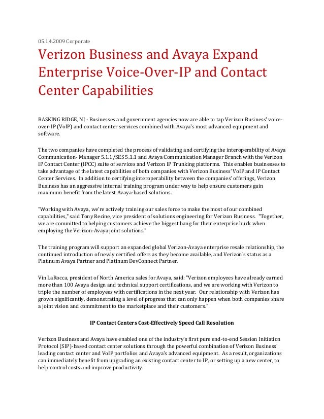 05.14.2009 Corporate Verizon Business and Avaya Expand Enterprise Voice-Over-IP and Contact Center Capabilities BASKING RI...
