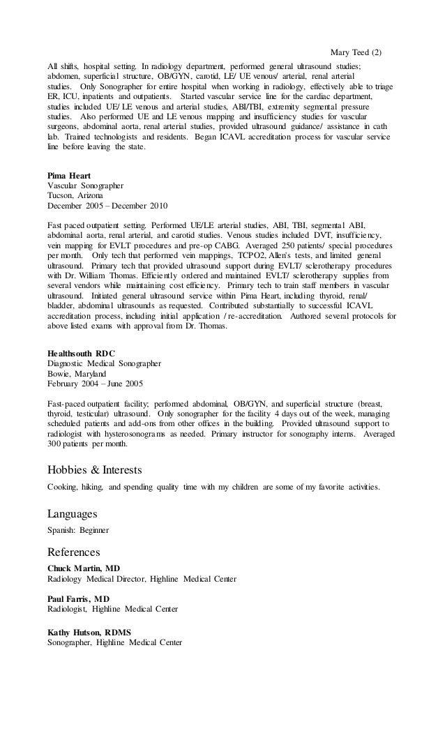 mary teed resume1 - Ultrasound Resume