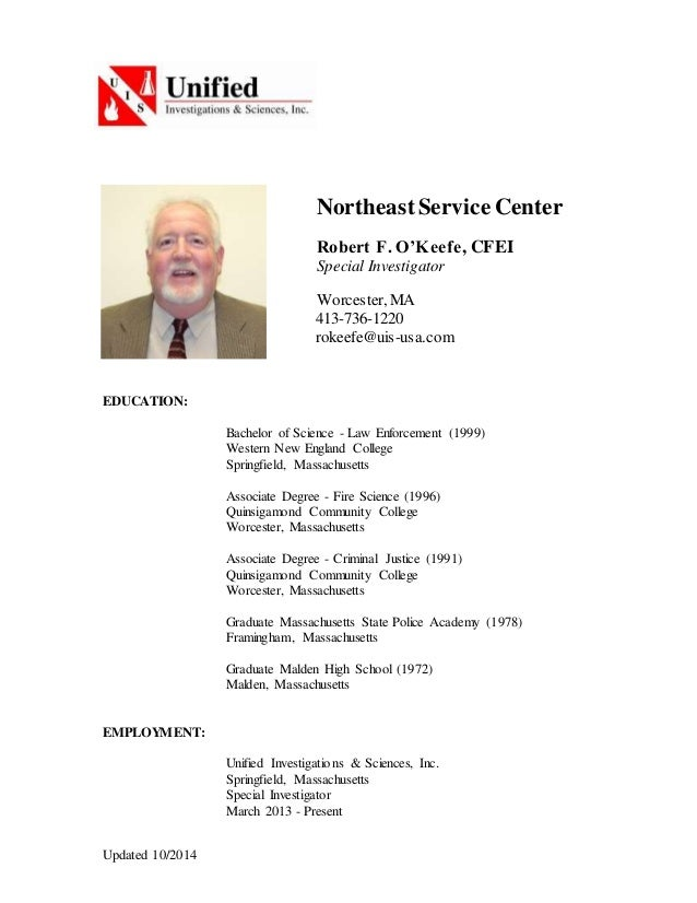 Robert O'Keefe CV resume Oct 2014