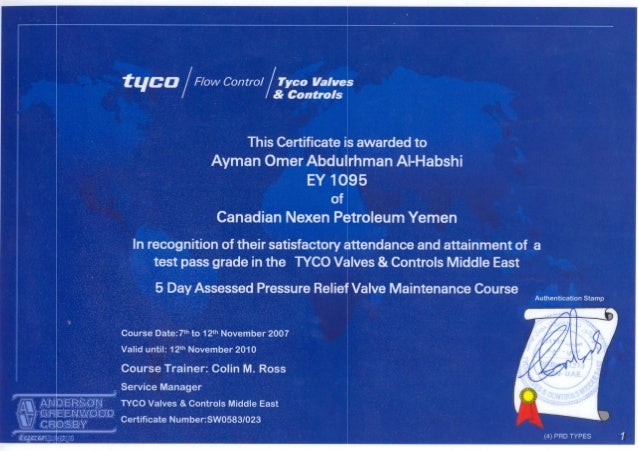 TYCO Certificate