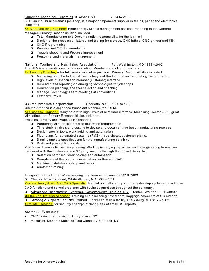 special projects resume for andrew levine page 3 of 4 4 superior technical ceramics - Ceramic Engineer Sample Resume