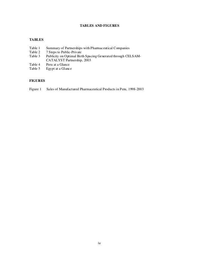TABLES AND FIGURES TABLES Table 1 Summary of Partnerships with Pharmaceutical Companies Table 2 7 Steps to Public-Private ...