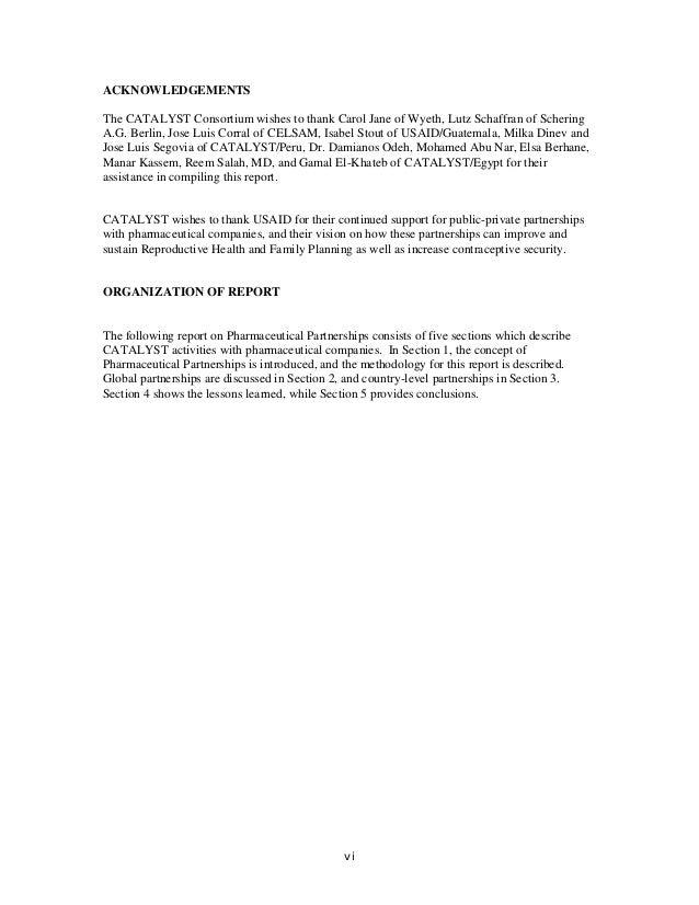 ACKNOWLEDGEMENTS The CATALYST Consortium wishes to thank Carol Jane of Wyeth, Lutz Schaffran of Schering A.G. Berlin, Jose...