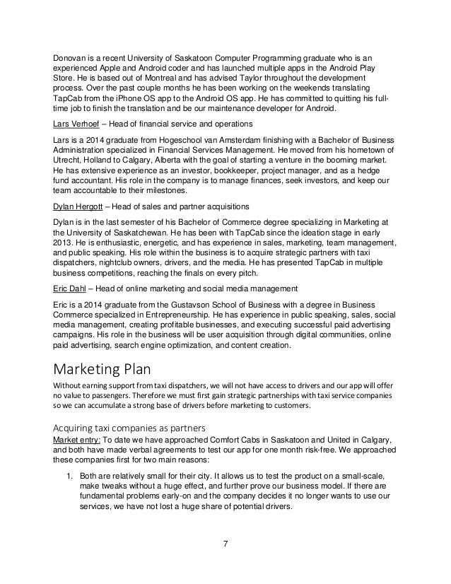 marketing plan for cab service