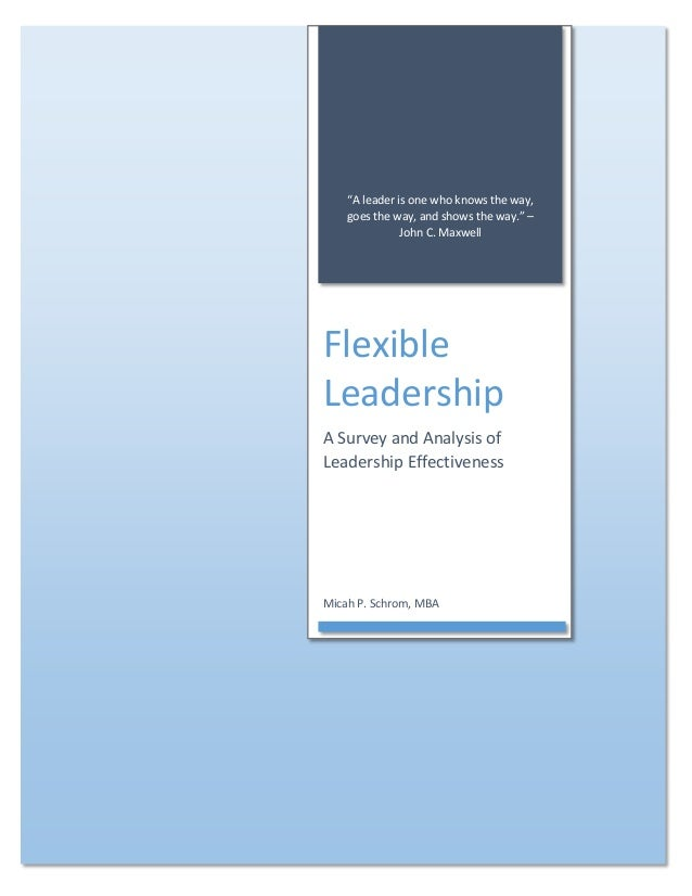 """""""A leader is one who knows the way, goes the way, and shows the way."""" – John C. Maxwell  Flexible Leadership  A Survey and..."""