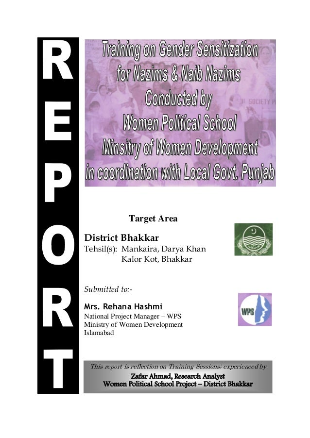 00000 This report is reflection on Training Sessions; experienced by Zafar Ahmad, Research Analyst Women Political School ...