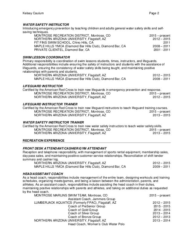 Resume For Lifeguard Resume Cv Cover Letter