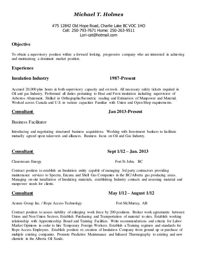 mike resume insulation may 2014