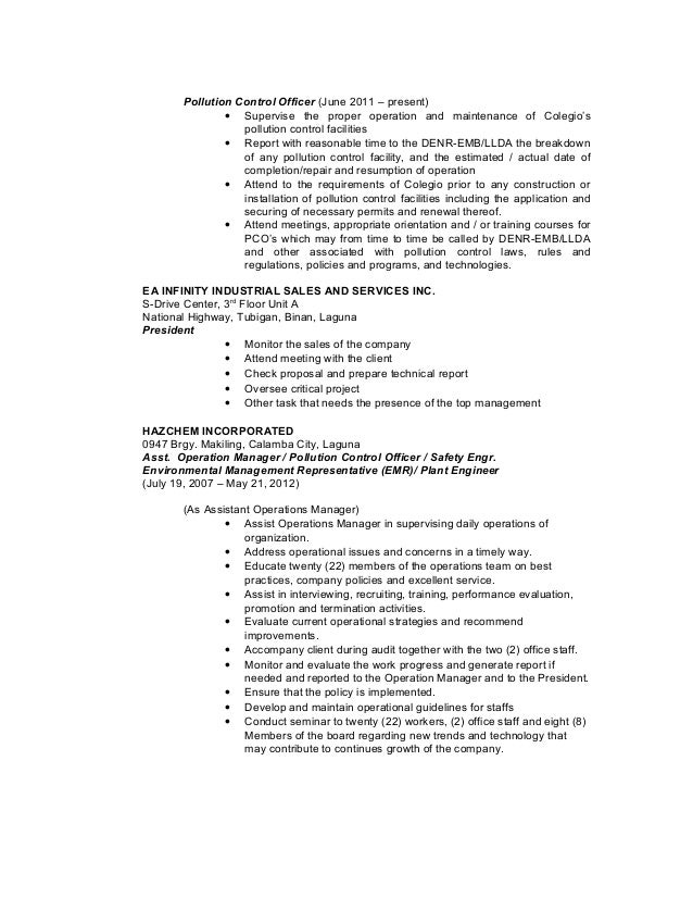 pollution control - Pollution Control Engineer Sample Resume