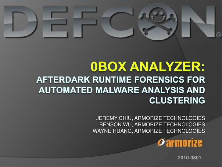 0box Analyzer--Afterdark Runtime Forensics for Automated Malware Analysis and Clustering