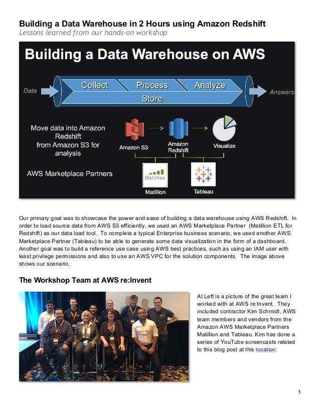 building aws redshift data warehouse with matillion and tableau rh slideshare net