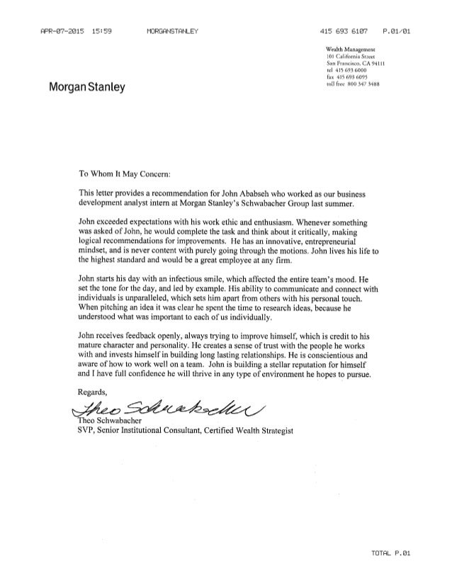 Morgan Stanley Letter Of Rec