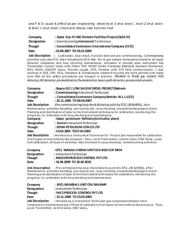 3 and - Controls Technician Job Description
