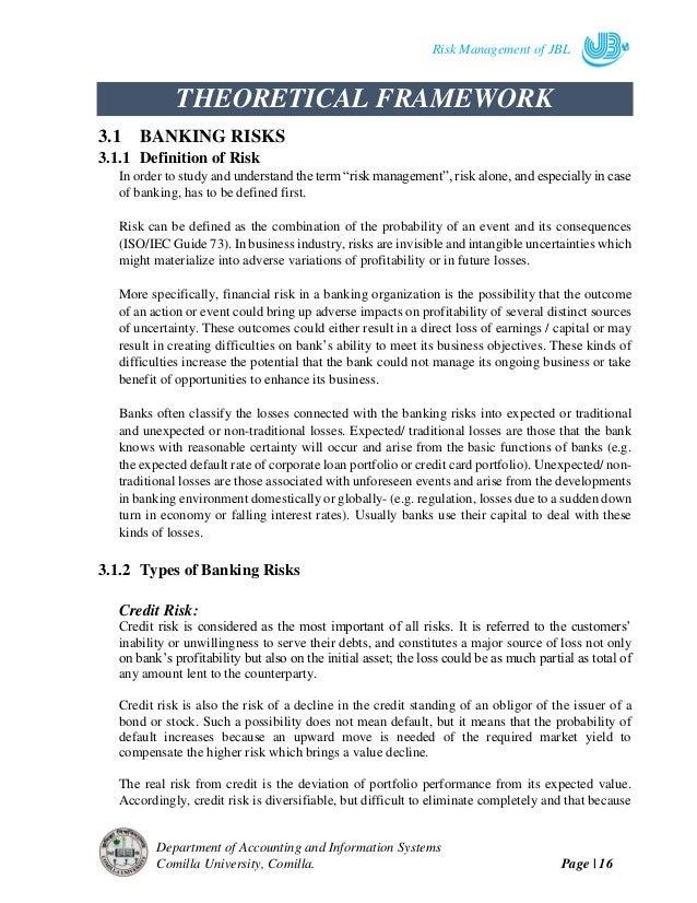 internship report on credit risk management Focus group members credit risk management name designation organization team co-ordinator sudhir chandra das dgm bangladesh bank a farjad ahmed head of credit and.