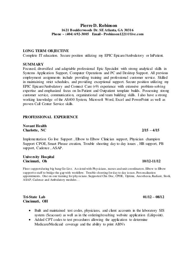 cerified epic ambulatory resume