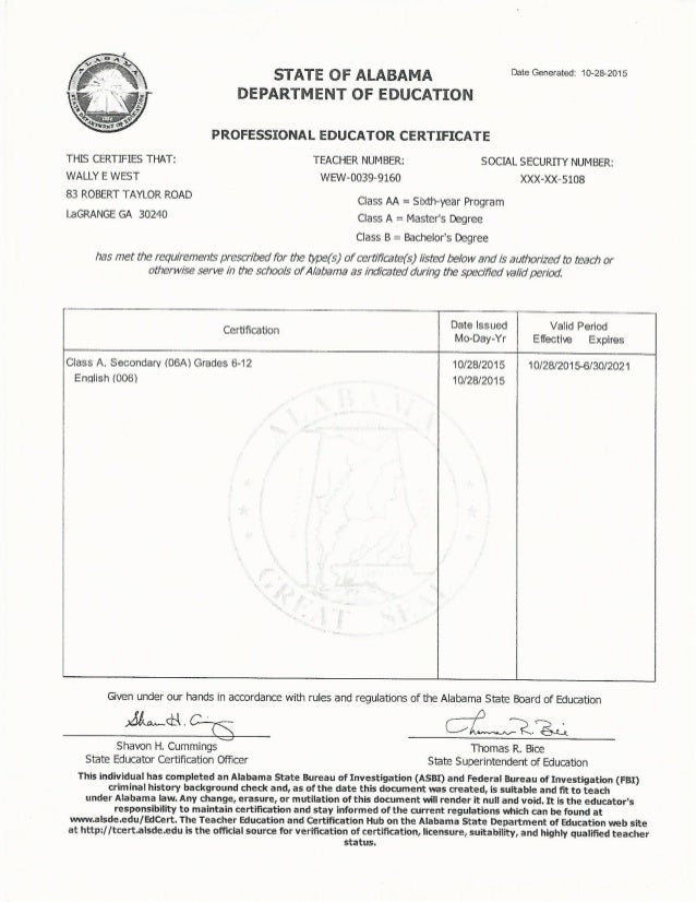 alabama teacher certificate west