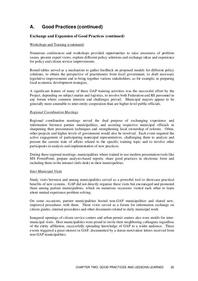 A. Good Practices (continued) Exchange and Expansion of Good Practices (continued) Publications Targeted to all Municipali...