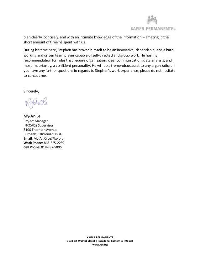 Stephen Yen - Kaiser Permanente - Letter of Recommendation - 09132016
