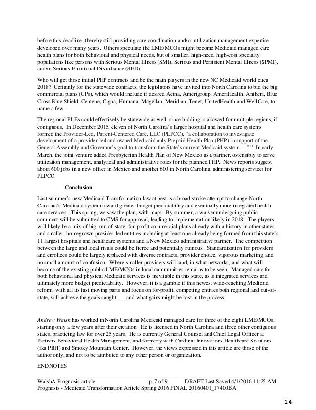 Ch. 4 - Medicaid Reform in North Carolina (149 pages)